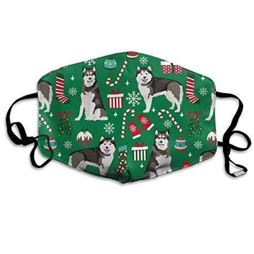Alaskan Malamute Weihnachtsmaske, Weihnachtsgeschenke, Zuckerstange, Winter, Schneeflocken, Grün, Anti-Staub-Maske Anti-Verschmutzung, waschbar, wiederverwendbare Mundmasken - Cap Schlafen Männer