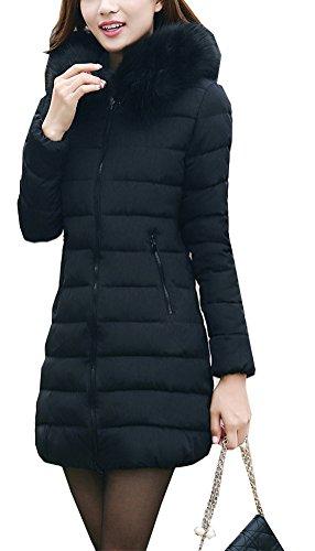Arkind Manteau Femme Hiver Manteau avec Zip Parka Hiver avec Capuche Fourrure Manteau Vin Rouge Noir Blanc Vert Olive Bleu