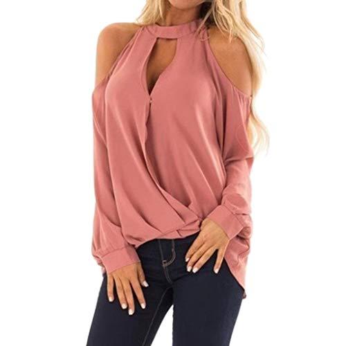 ESAILQ Frau Mode V-Ausschnitt Schulterfrei Langarm T-Shirt Tops Bluse(Medium,Rosa)