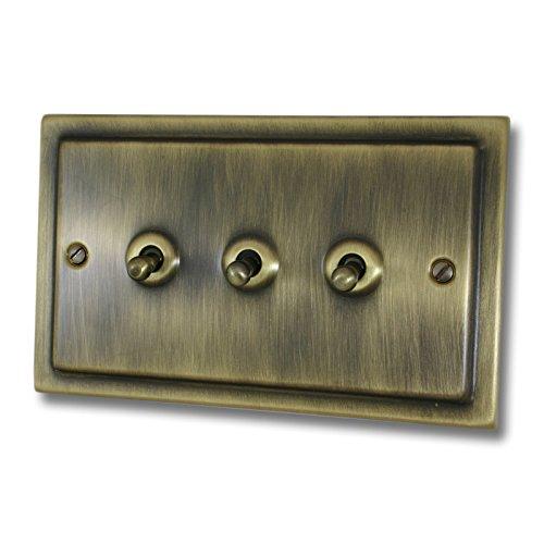 G & H Brassware TAB283Victoriano latón envejecido 3Gang 2Vías interruptor