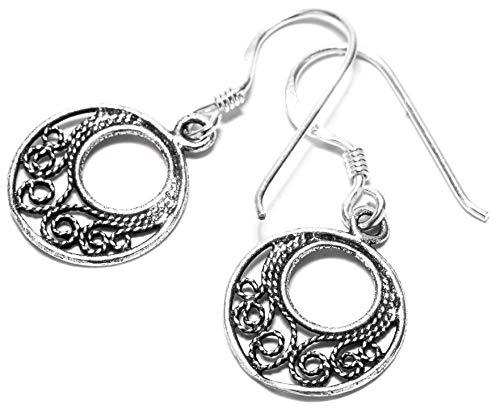 WINDALF Vintage Ohrhänger FARNE h: 1.5 cm Bohemia Lebens Spiralen Ornamentik Indie Hippie Ohrringe 925 Sterlingsilber