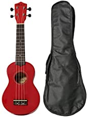 Vault UK-003 Soprano Colourful Ukulele With Gig Bag - Red