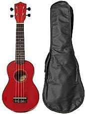 Vault UK-003 Soprano Colourful Ukulele With Gig Bag - Red