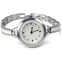 Trendy Elegant Silver Bracelet Watch Analog Round Dial Wristwatch for Women Lady