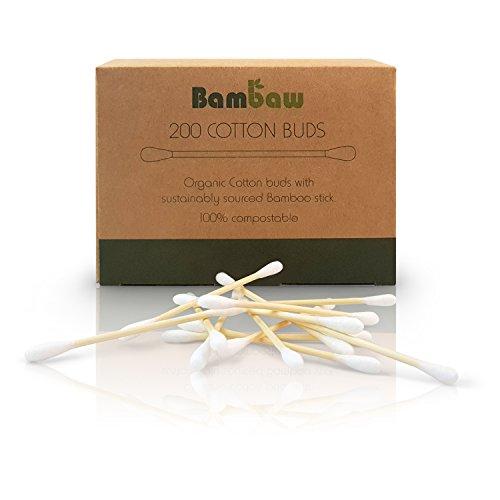 Bastoncillos para Oídos de Bambú | Bastoncillos Ecológicos | Palillos Limpiadores de Oídos | Bastoncillos de Madera | Biodegradables | Bote Dispensador Ecológico | Bambaw ... (200)