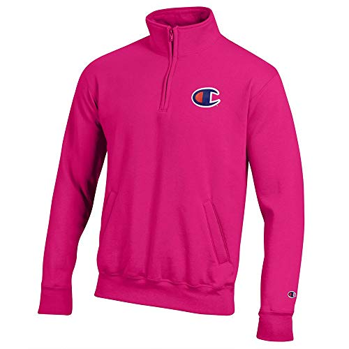 Champion Men's (Knockout Pink) Powerblend Sweats 1/4 Zip Pullover Fleece Knockout-zip