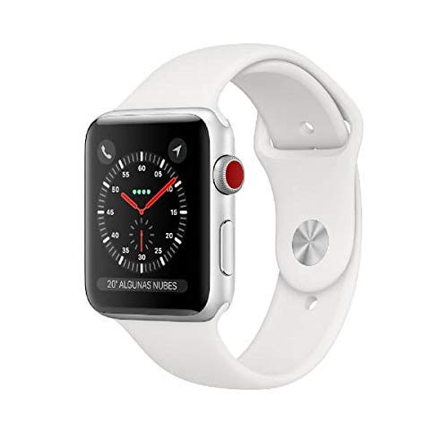 Apple Watch Series 3 (GPS + Cellular) con caja de 38 mm de aluminio en plata y correa deportiva blanca