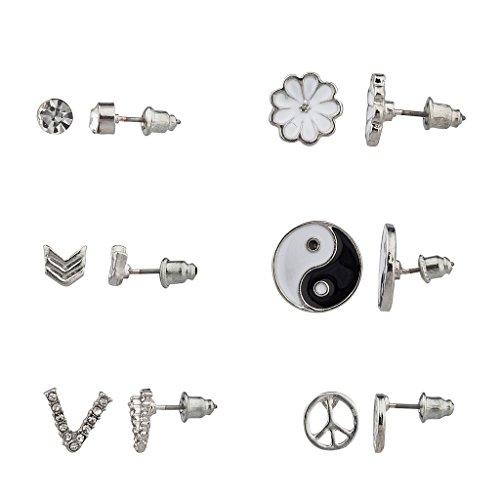 lux-zubehor-blumen-peace-yin-yang-turkis-v-bar-mehrere-ohrstecker-ohrring-set