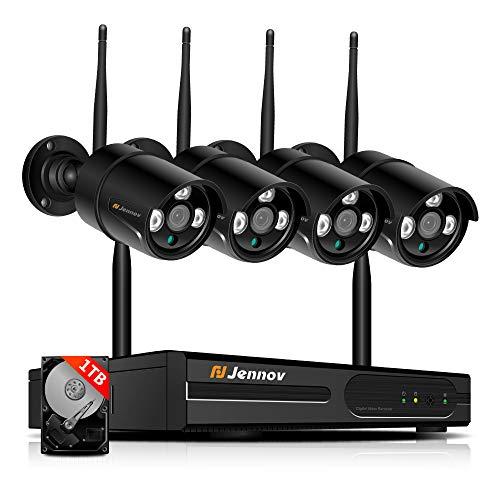Jennov Kit de Vidéo Surveillance sans Fil HD 1080P WiFi Système de sécurité caméra de Surveillance 4CH WiFi NVR/DVR et 4pcs IP Caméras Extérieures/Intérieures, IP66 Etanche, 1TB Disque Dur Inclus