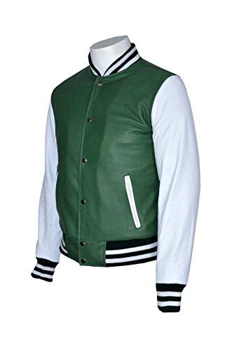 Herren Baseball Versity Grün Weiß nehmen passende stilvolle Hip Hop Rap Lederjacke GREEN&WHITE