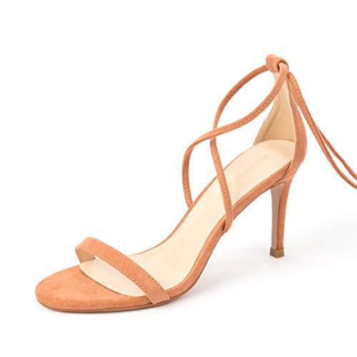 Frauen SchnüRen Sich Oben Partei-Sandelholze Sommer SchnüRen Sich Oben Das Mikrofaser-Kreuz, Das GeöFfnete Zehe-KnöChel-BüGel-Weibliche Absatz-BeiläUfige Schuhe Gebunden Wird