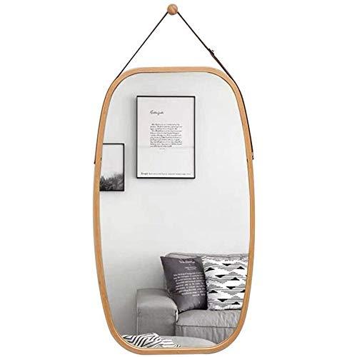 LARRY SHELL Wand-Kosmetikspiegel, hängender Bad- und Schlafzimmerspiegel, mit Kette, verstellbares Lederband aus massivem Bambusrahmen, für Home Decor Baby Nursery -