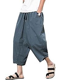 Liangzhu Pantalones De Capri Holgados De Color Sólido Casuales De Los Hombres  Pantalón De Harem Hippie 58be11fbb620
