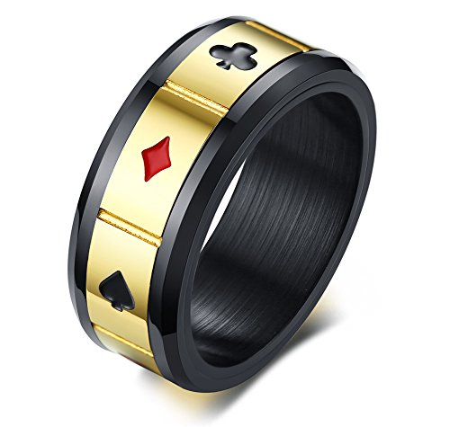 Vnox Nero Acciaio Inox Spades Cuore Club Diamante Anello di Poker Anello Carte da Gioco Anello Spinner Gioco Gioielli per Uomo, Taglia 17