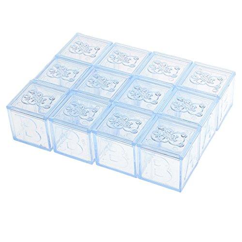 Prettyia 12 x Süß Hochzeit Gastgeschenk mit Panda Muster Schachtel Bonbon Box Geburtstag ,3 Farben - Klar und blau