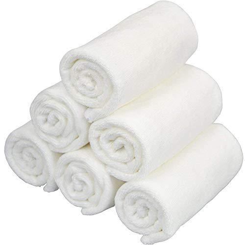 Rocita 6 Stück 27,9 x 27,9 cm Baumwolle Waschlappen quadratisch Frottee Tücher für Geschirr, antibakterielle Mikrofaser, schnelltrocknend