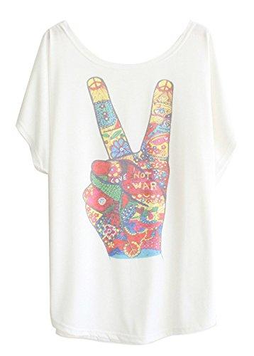 Luna et Margarita T-shirt femme blanche manche chauve-souris à motif de signe Victoire col rond coton mélange taille 42 44