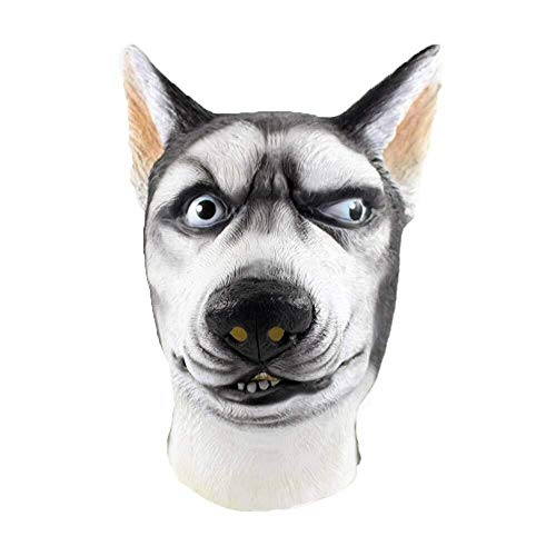 WANG XIN Halloween Masken Siberian Husky Maske Wolf Hund Latex Tier Kostüm Canine Kostüm Cosplay Tricky Maske (Weiß) (Color : - Michaels Hunde Kostüm