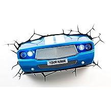 3D Deco Light 14208 - Lámpara LED 3D decorativa, diseño de coche, color azul