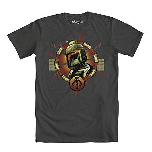 Fett-logo-t-shirt (Star Wars Boba Fett Helmet Logo Herren Grau T-Shirt | L)