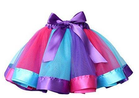 AGOGO Mädchen geschichteten Ballett Kleid Partei BogenTulle Ballettröckchen Rock Kostüm Regenbogen Tutu Rock Tanz Kleid Ruffle Tier Nachmittagskleid Größe S M L (L=Länge:10.24