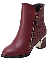0b1982383 Botines de tacón Ancho de para Mujer Otoño Invierno 2018 Moda PAOLIAN Botas  bajo Chelsea de Cuero Zapatos de Punta Señora Calzado Piel…