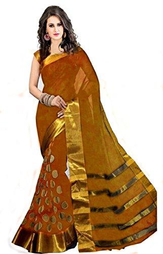 Perfectblue Women's Cotton Silk Saree (Pbgoldgoli_Gold_Free Size)