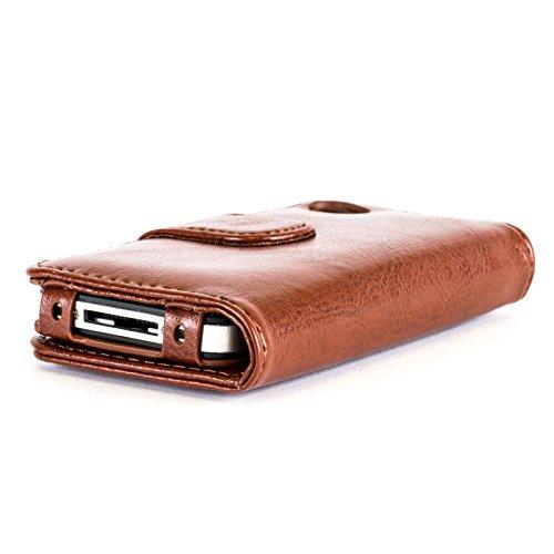 Snakehive® Apple iPhone 4 / 4S cuir enduit étui portefeuille avec compartiments pour cartes bancaires / billets pour Apple iPhone 4 / 4S (Fauve) Fauve