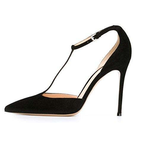 Kolnoo Damen T-Strap T-Spangen Pumps Übergröße High Heels Schuhe Schwarz Black
