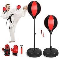 Homgrace Punching Ball Enfant Punching Ball sur Pied réglable en Hauteur 90-120cm - avec Gants de Boxe et Mini Pompe 3 à 12 Ans