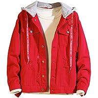 zarupeng Abrigo de invierno de los hombres Abrigo Casual Botón Denim Chaqueta Vintage Wash Distressed Chaqueta de mezclilla Abrigo Top Blusa