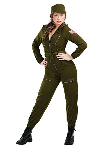 (Womens Army Flightsuit Fancy dress costume Small)
