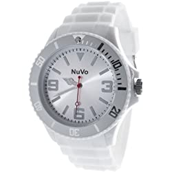 Nuvo - NU13H07 - Unisex Armbanduhr - Quartz - Analog - Weißes Zifferblatt - Weißes Armband aus Silikon - Modisch - Elegant - Stylish