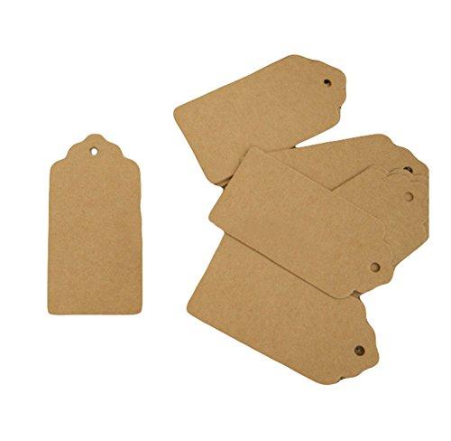 (leisial 100pcs Etiketten klein Charms Kraftpapier Etiketten Dekoration Geschenk Form rectángulo-10X 5cm)