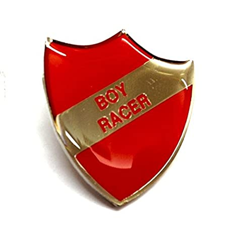 BOY RACER Red Retro School Shield Pin Badge (XSB047)