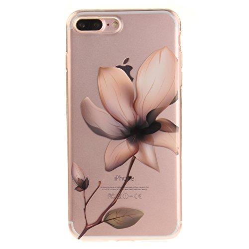 Voguecase® Pour Apple iPhone 7 Plus 5,5, TPU avec Absorption de Choc, Etui Silicone Souple Transparent, Légère / Ajustement Parfait Coque Shell Housse Cover pour iPhone 7 Plus 5,5 (Plum fleur 16)+ Gra magnolia