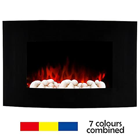 7 Colour Wall Mounted LED Electric Fireplace 900W/1800W Changing Flame & Heat Adjustable Ultra Slim Electric Fire Heater (NEW White Pebbles Effect) with Black Curved Tempered Glass Screen+ Remote Control