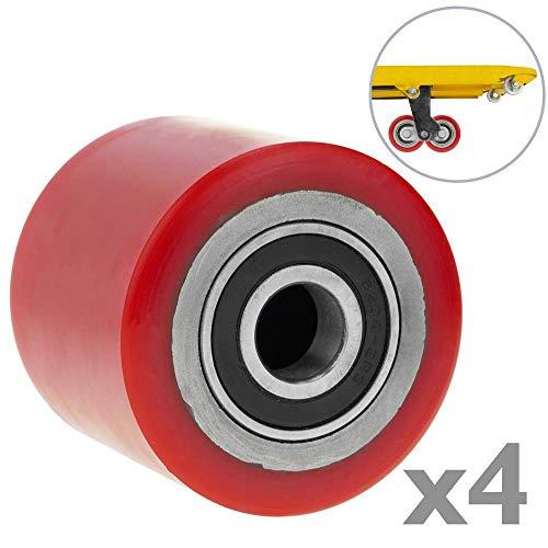 PrimeMatik - Paletten Fixierer Rad für Hubwagen Polyurethan Rolle 80x60 mm 700 Kg 4-Pack