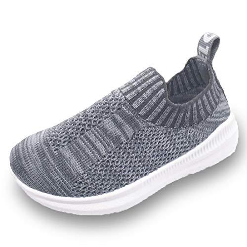 Dream Bridge Stricken Sneaker Kleinkinder atmungsaktive Schuhe für Baby Jungen Mädchen Laufschuhe (Grau) -