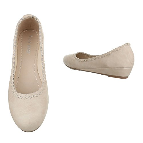 Damen Schuhe Pumps Keil Wedges Beige Beige