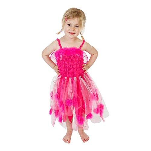 Fee Kostüm für Kinder in Pink - Fee Kostüm Gr 116 (5-6 Jahre) verziert mit Marabufedern - Lucy (Ritter Mädchen Kostüme)
