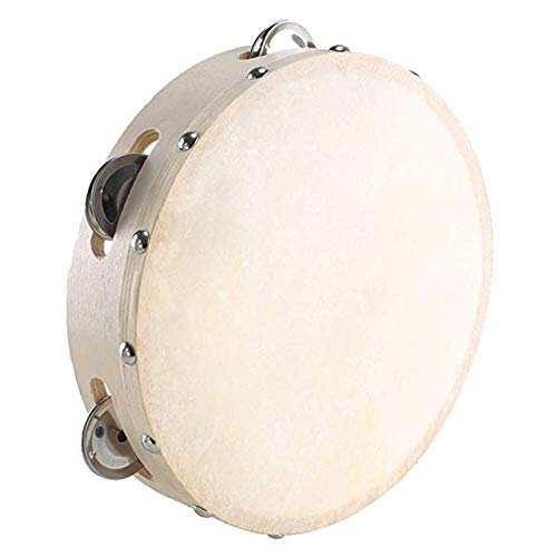 Holz Handheld Tamburin Frame Drum 7 Zoll 5 Paar einreihige Jingles Church Party Prop Erwachsene Kinder Percussion EIN 5-Zoll-Kragen, EIN Paar Sticks, EIN Paar Glocke Handgelenke