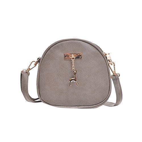 Reine Karotte (Damen Leder Umhängetasche Reh Anhänger Reißverschluss Citytasche Schultertasche Casual Crossbody Messenger Tasche (A Typ Grau))