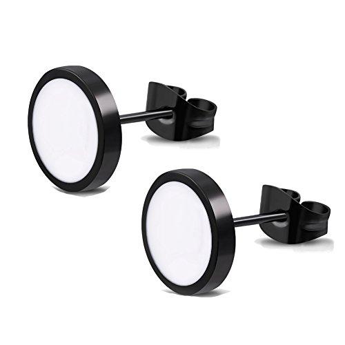Elegante schlicht klassische runde Ohrstecker Ohrringe Edelstahl Schwarz / Weiss 10mm für Damen und Herren (Weiß Schwarz Und 10)