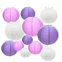 """Paper Lanterns,12 Packs 6"""" 8"""" 10"""" 12"""" Round Chinese Lantern Hanging Decoration for Wedding Birthday Baby Shower Party Home Decor"""
