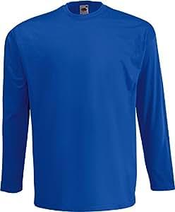Valueweight Longsleeve T-Shirt von Fruit of the Loom S M L XL XXL sowie einen Kalender von Pluspol im Visitenkartenformat XXL,Blau