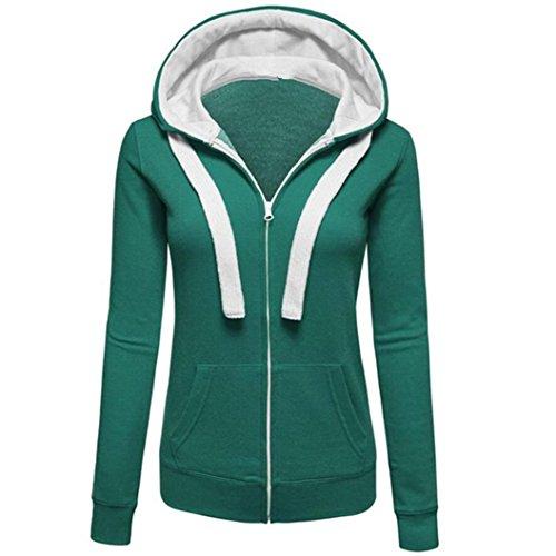 Hoodie Mäntel Damen Sunday Warme Hoodies Hoody Sweatershirt Kapuzenpullover Pullover Bandage Reißverschluss Jacke (Grün, L) - Grüner Pullover Warme Jacke