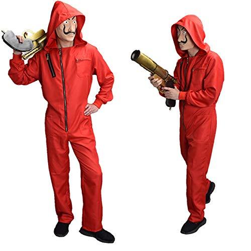 Haus Mann Kostüm - ZHANGXX La Casa De Papel Salvador Dali Maske Geldraub Das Haus Aus Papier Cosplay Halloween Party Kostüme Maske Kinder Kinder Erwachsene Männer,Red-XL(180-185CM)