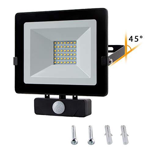 Chestele Faro LED Esterno,Faretto con Sensore di Movimento 30w,Impermeabile IP54 2400LM 4000K 240W Luci Alogene,Lampada da Giardino Garage Bianco Naturale