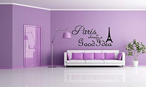 """Dozili Wandtattoo mit Zitat Audrey Hepburn Eiffelturm Paris is Always A Good Idea, Vinyl, 71 x 33 cm 40\"""" x 22\"""" Optional"""